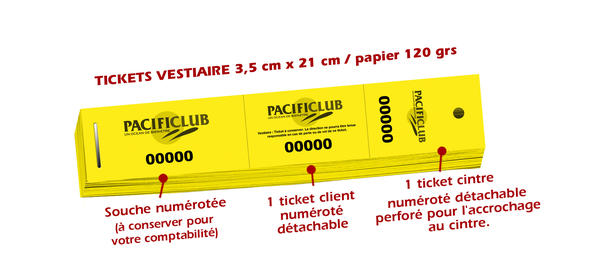 Tickets vestiaire pacificlub