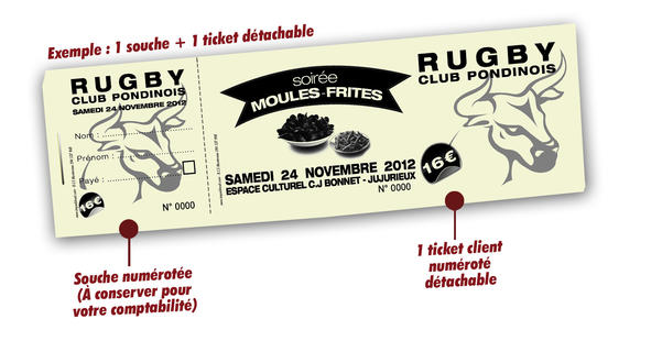 tickets carnets à souche sports rugby